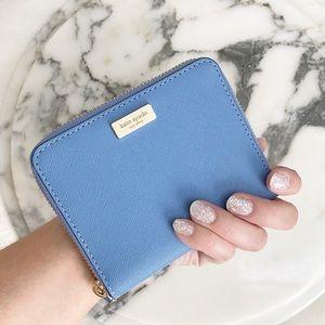 Kate Spade blue bifold zip around wallet EUC